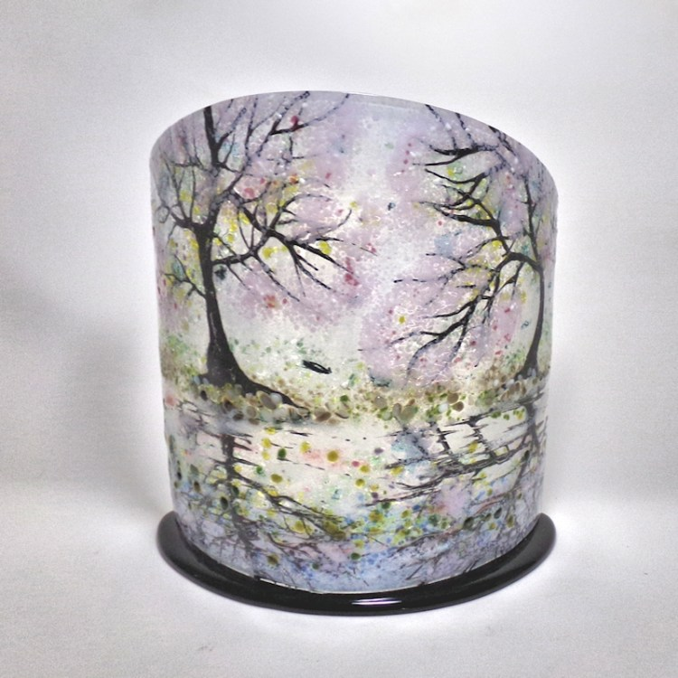 Curved Glass Sculpture Cherry Blossom Trees on Black Base