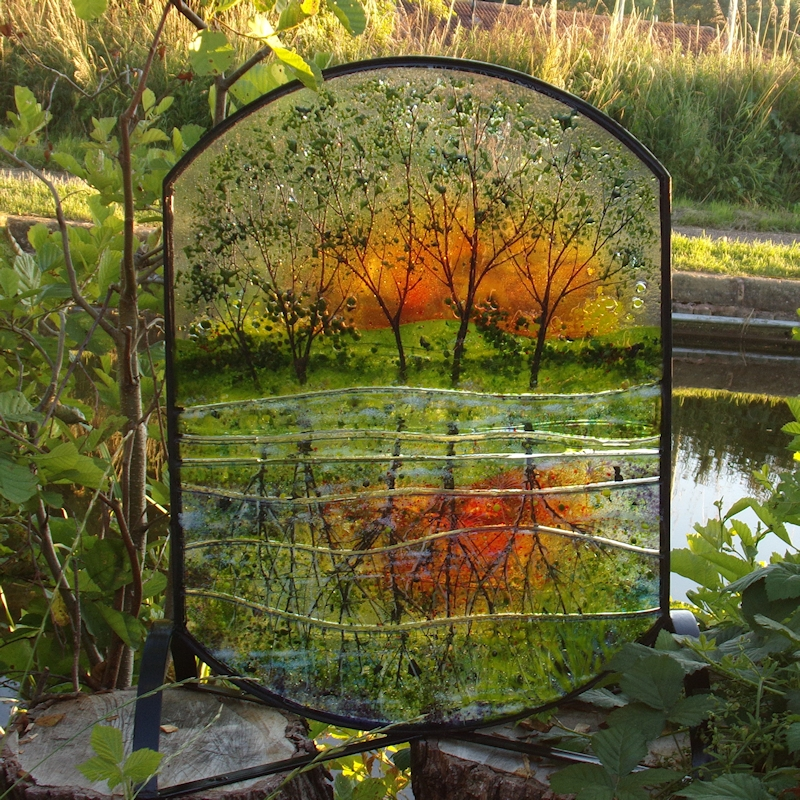 Canal Reflections-Outdoor Glass Sculpture-Metal Frame