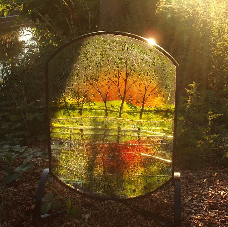 Canal Reflections-Outdoor Glass Sculpture-Metal
