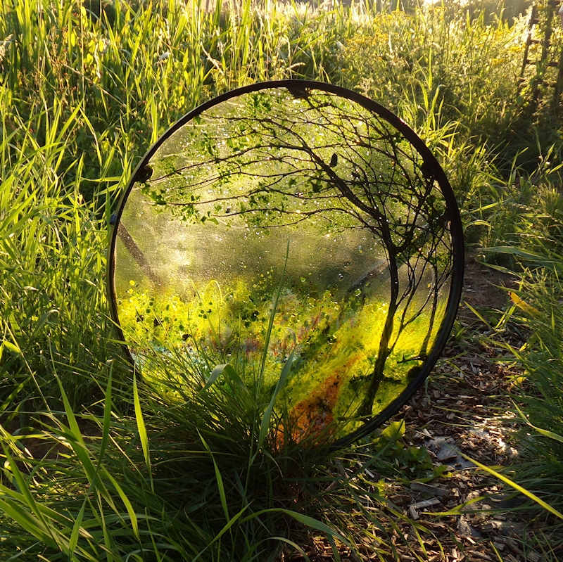 Outdoor Sculpture Manton Towpath-glass framed in metal