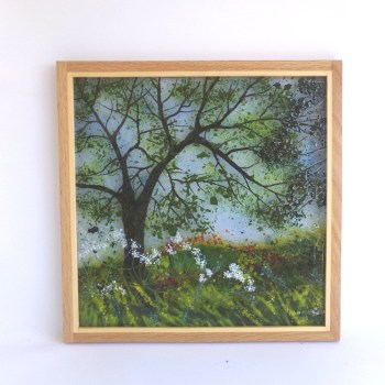 Picture Woodland with Cow Parsley framed in oak