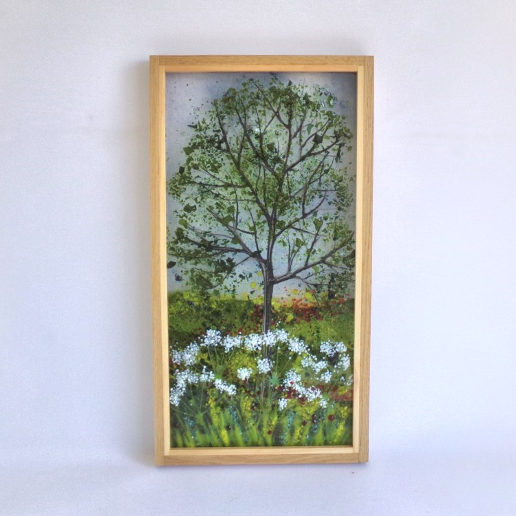 Pictute tree with cow parsley framed in oak