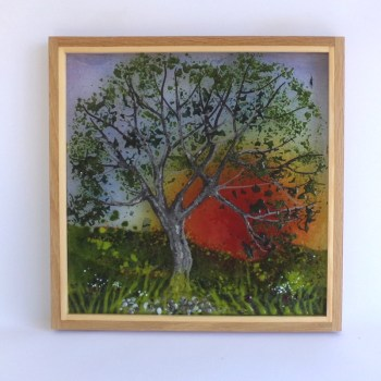 Picture tree at sunset with cow parsley framed on oak