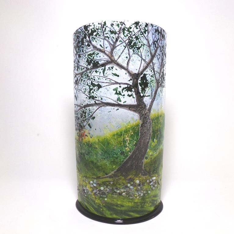 Glass Sculpture Oak Tree on Black Base