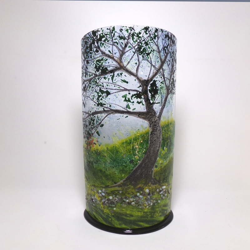 Curved Glass Sculpture of Oak Tree With Black Base