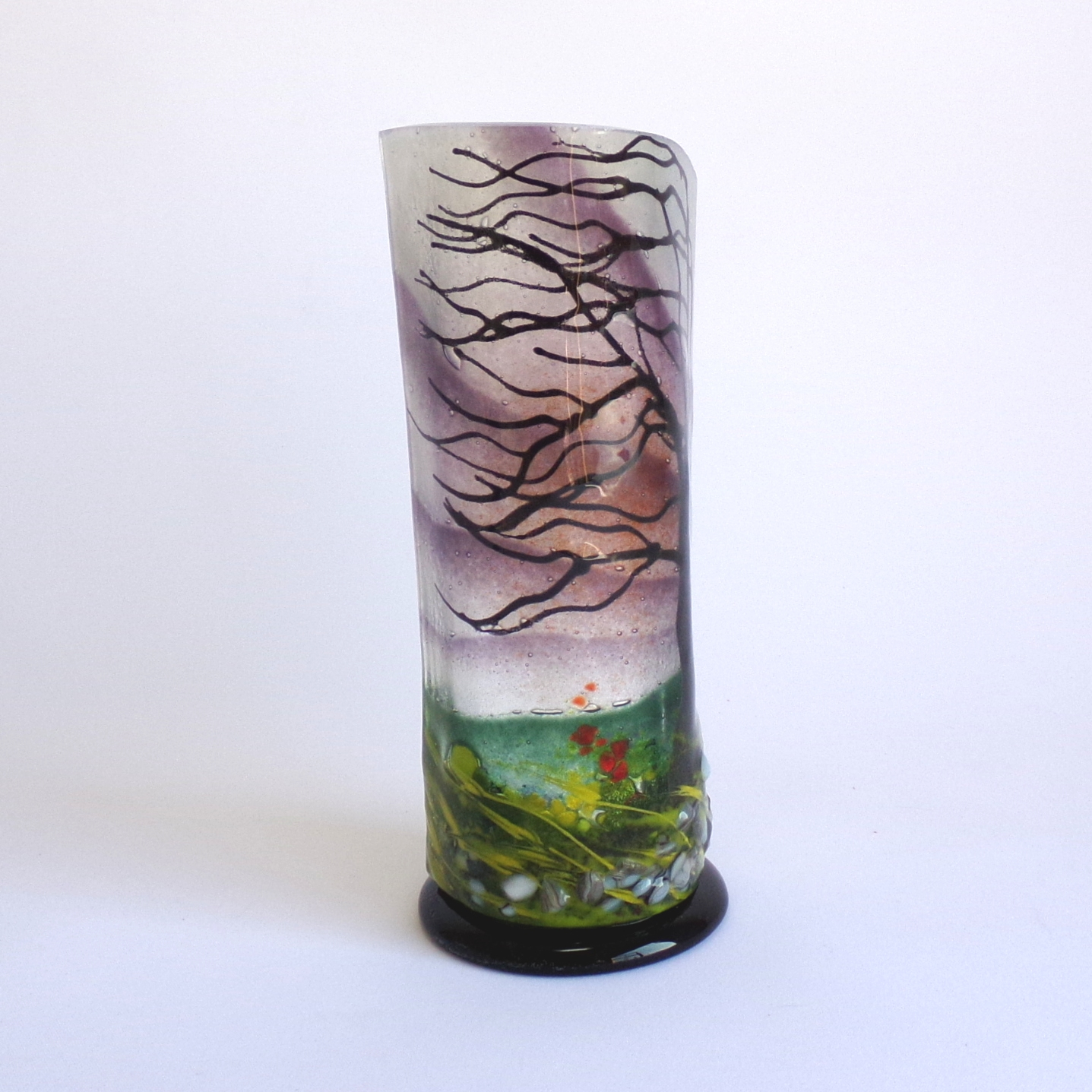 Small Curved Glass Sculpture Grinlow Wind Swept Tree Design With Black Base