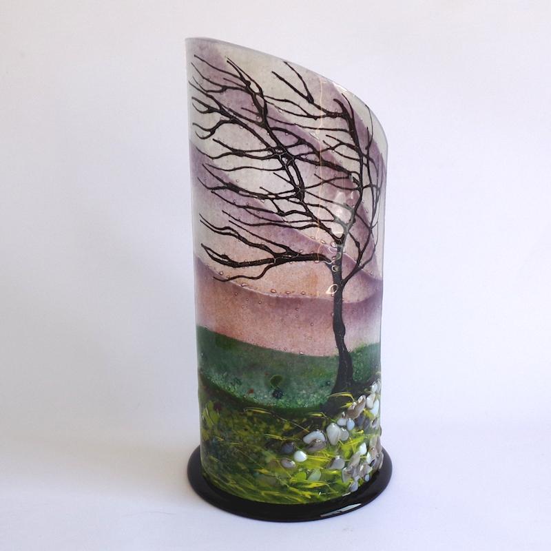 Glass Curved Sculpture Windswept Tree on Black Base