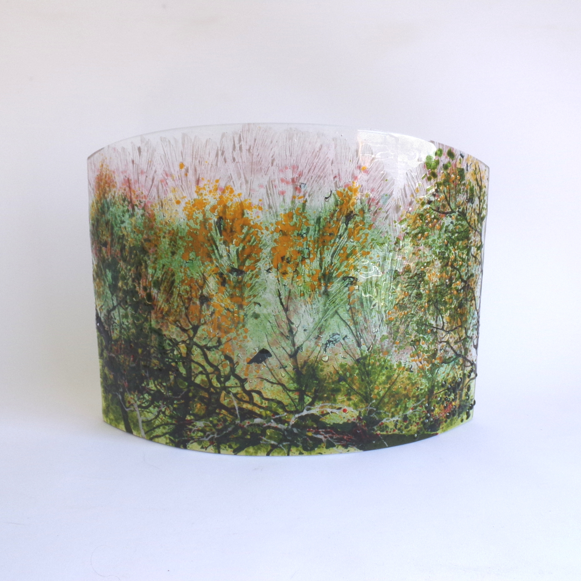 Curved Glass Sculpture Autumn Woodland Scene