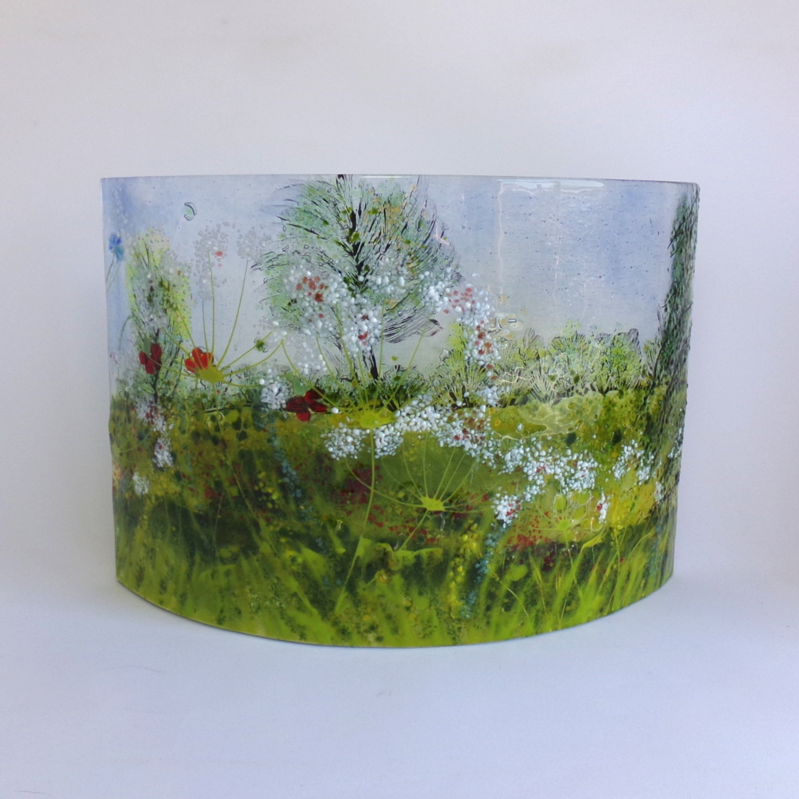 Curved Glass Sculpture Meadow Scene