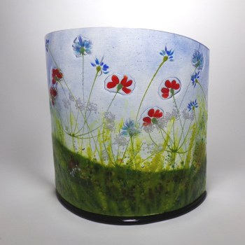 Meadow-curved glass sculpture- poppies and cornflowers