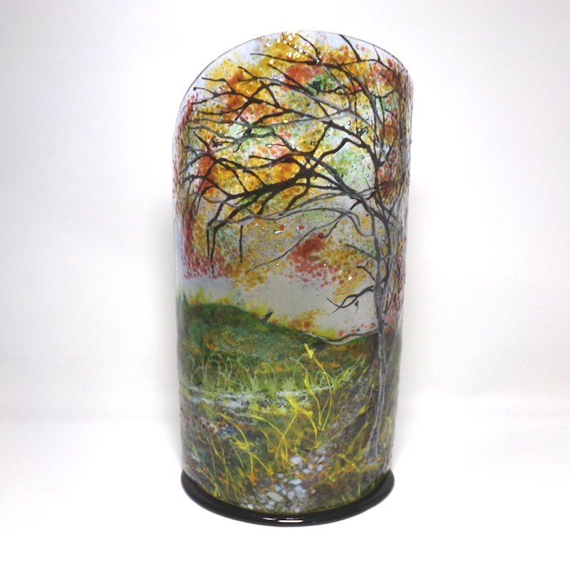 Glass Sculpture- Canal Towpath-Tree-Autumn Leafs