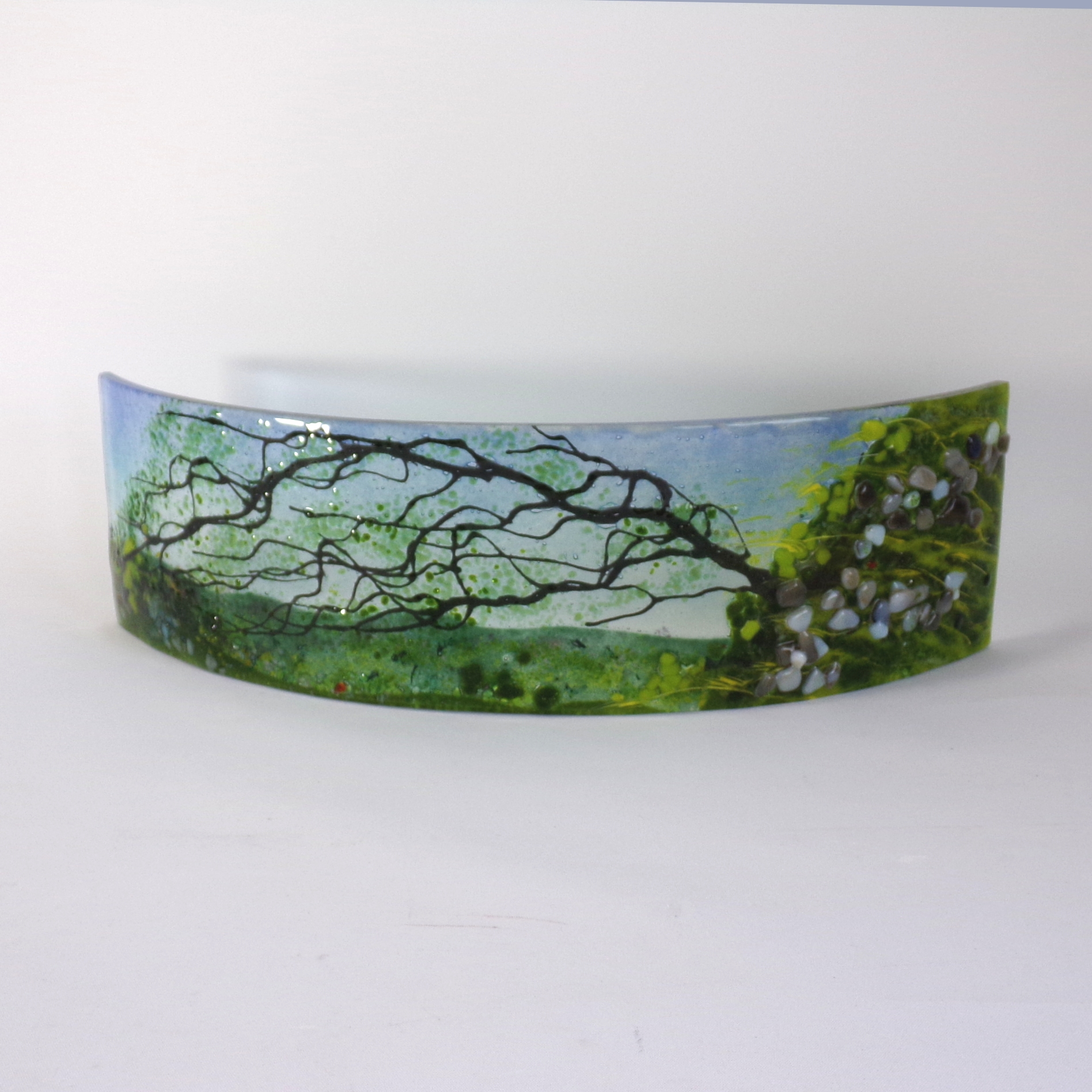 Curved glass sculpture -Tree-Rock Crag