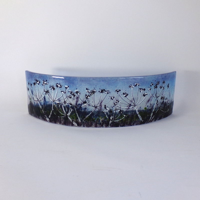 Glass Sculpture-Curved-Cow Parsley Silhouetted-Night Sky
