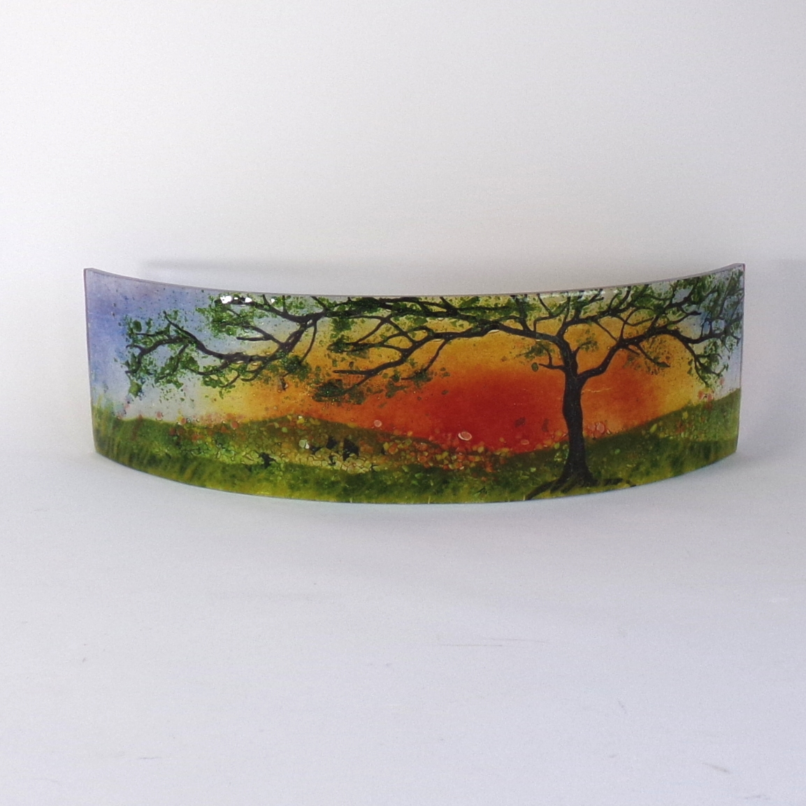Glass Sculpture-Curved-Tree at Sunset