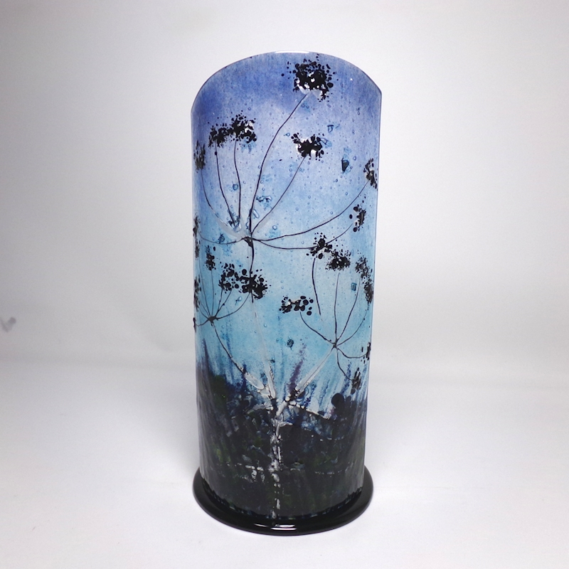 Glass Sculpture-Cow Parsley Silhouetted-Night Sky