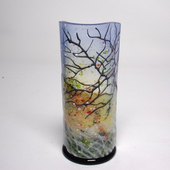 Winter-curved glass sculpture-black base-tree with snow